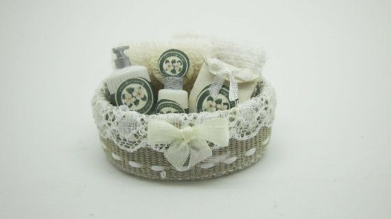 "Minature dollhouse beauty filled spa basket (""Biancospino"" fragrance)"