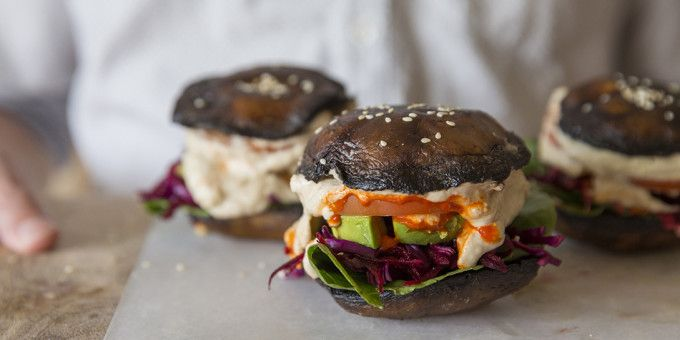 Raw Vegan Portobello Burgers with Beetroot + Almond Hummus - I Quit Sugar
