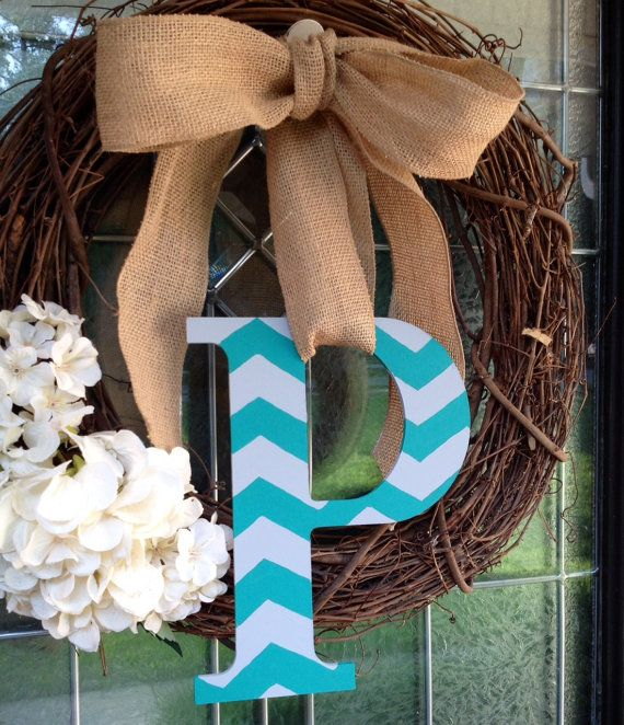 Super Cute Chevron Front Door Letter with Burlap Ribbon. You pick the colors! Great with vine wreath! on Etsy, $15.00