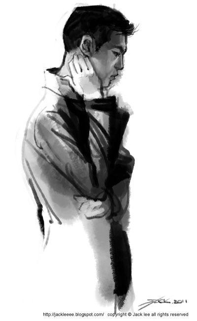 illustration by jack lee,photoshop,ink,digital water color,fashion illustration,man
