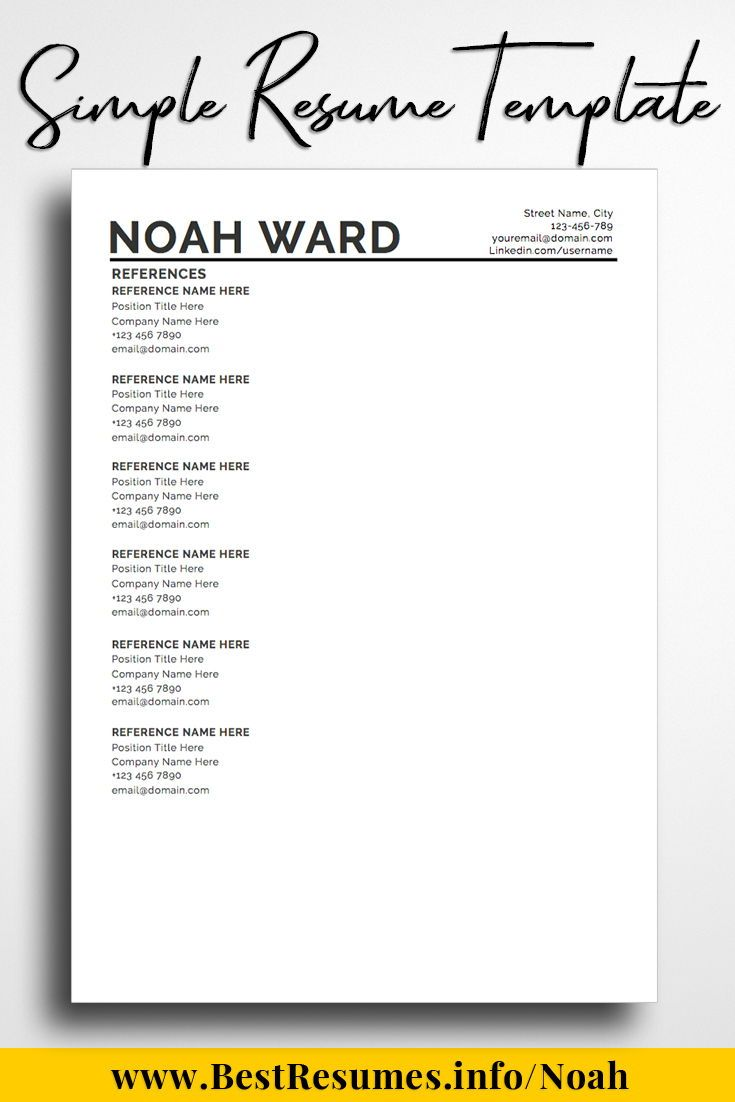 One Page Resume Template Noah Ward With Images Resume Writing