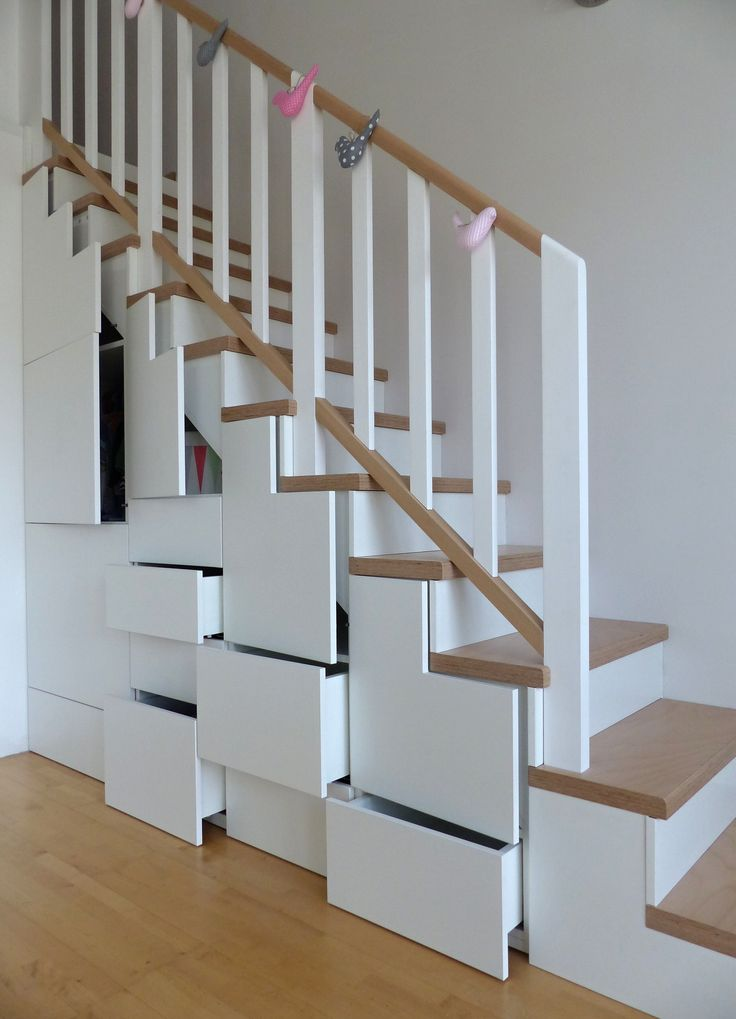 staircase with storage
