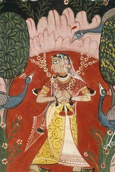 ca. 1605 GAURI RAGINI.  detail. A large triangular object pierces her ear. Scrolling detail on skirt. delicate white blossoms on a red field. transparent veils
