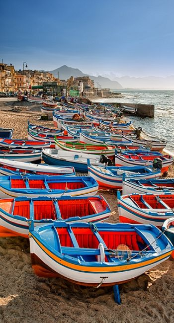 Boats on the beach of Aspra, Palermo.