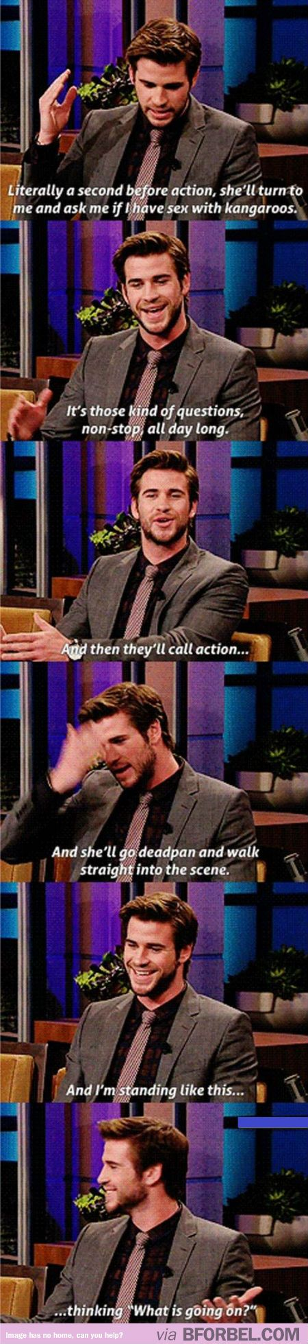 Liam Hemsworth On Working With Jennifer Lawrence… I think I need a Jennifer Lawrence board.