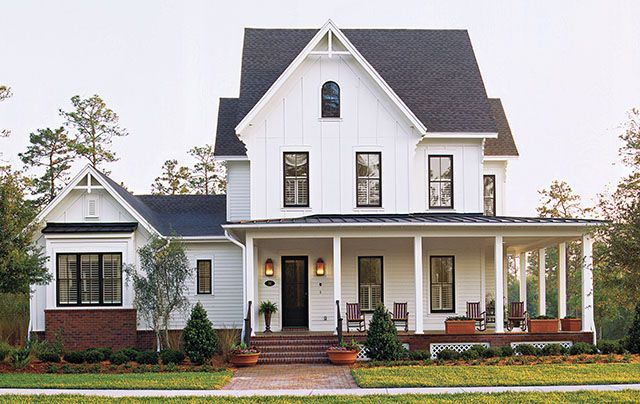 Exterior: I love the half wrap around porch and the front gable.