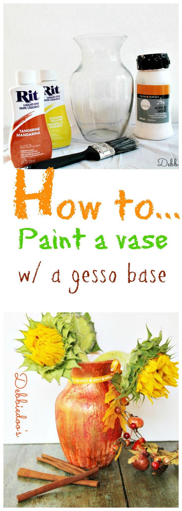 Como pintar um vaso para #Fall com uma base de modo que o corante #gesso adere a ele.
