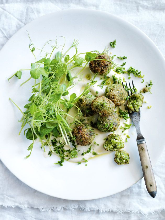 Quinoa and pea fritters with tahini dressing | Donna Hay