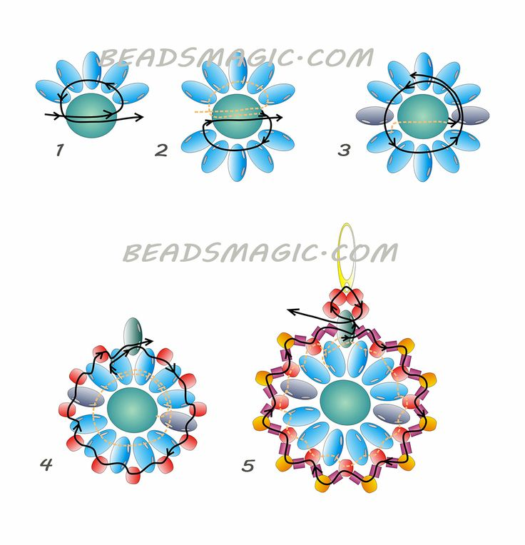 Free pattern for beaded earrings Tea Party | Beads Magic#more-7164