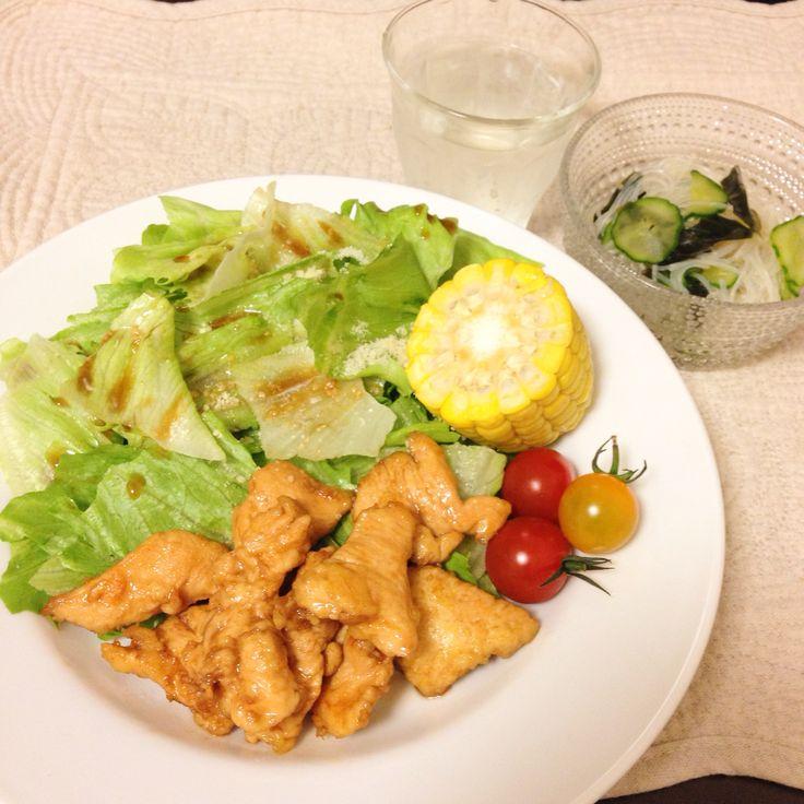 鶏甘酢風 きゅうり春雨酢の物 レモン水