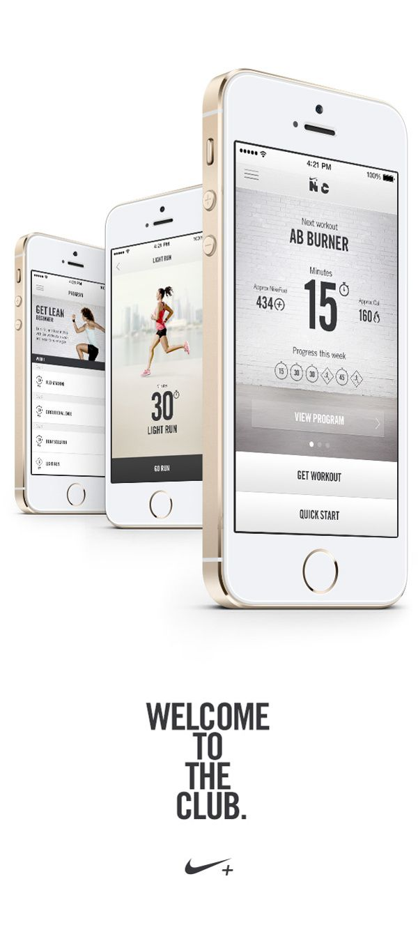 Nike+ Training Club by Sean Hobman, via Behance