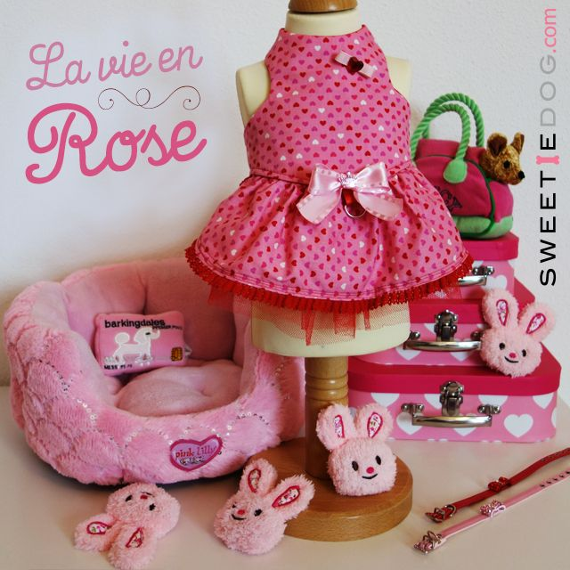 <3 Lookbook chien La vie en Rose <3 Harnais chien Mon coeur – Collier chien Baby Bow – Panier chien Sweet Pink Lilly - Jouet chien Lapin Rose – Jouet chien Barkingdales Credit Card – Jouet chien Chuicy Chihuahua - www.sweetiedog.com