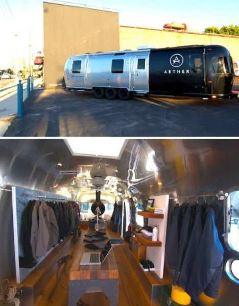 """The AESTHERstream.  The AESTHERstream is a converted 34-foot Airstream trailer carrying men's fashion and decorative items. Two movie producers came up with the idea for """"the ultimate guy's workshop, an adventure lab on wheels, a mobile man cave."""" They hired designer Thierry Gaugain to outfit the interior with reclaimed wood floors, modular shelving and vintage details."""