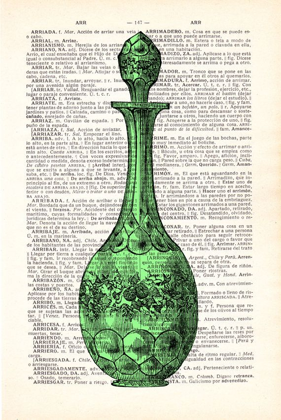 Victorian Decanter in Soft green Bottle Print on Vintage by PRRINT