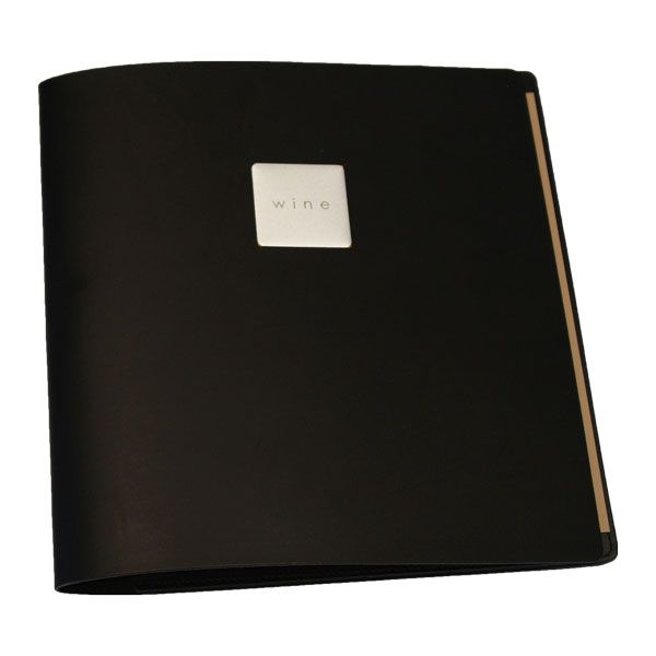 Wine List Tuscan Black Leather Menu Cover with pockets