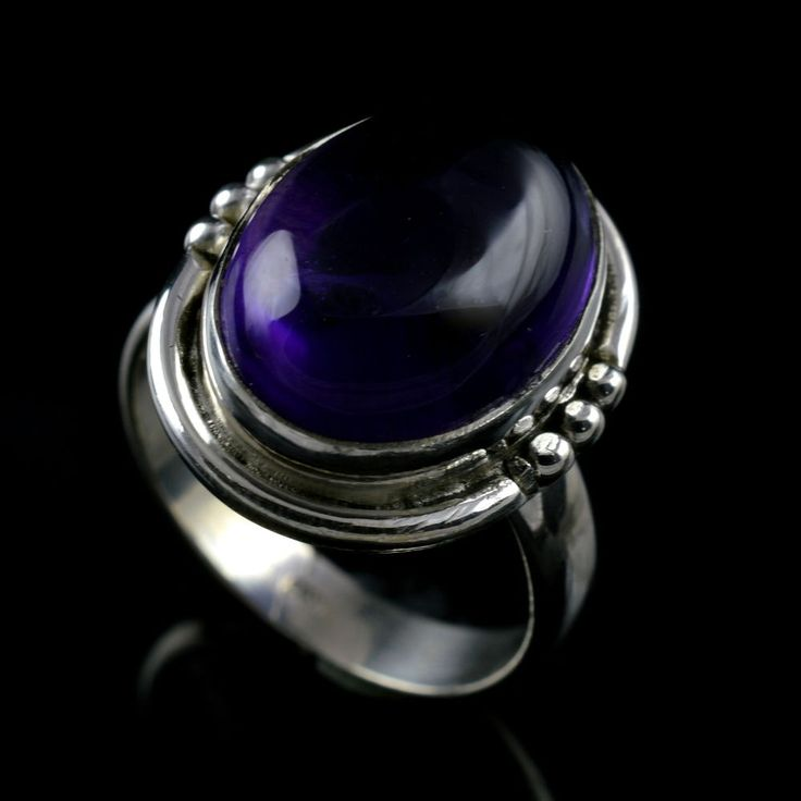 925 Sterling Silver Natural Amethyst Gemstone Handmade Mens Ring Size 7.75 US #Handmade #Cluster #Party
