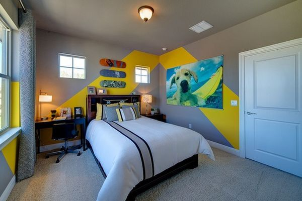 Charming-Yellow-Striped-Chevron-Pattern-Painting-Ideas-on-Grey-Wall-Painting-for-Alluring-Bedroom-Decor-with-Having-Small-Black-Swivel-Chair-and-Dog-Pictures-Wall-Ornament