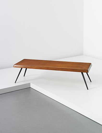 Charlotte perriand oak and enameled steel coffee table by ateliers jean prou - Jean prouve coffee table ...