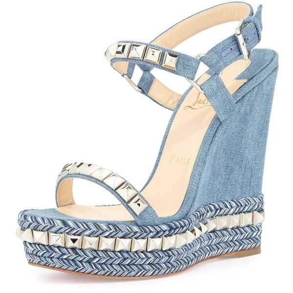 Christian Louboutin Cataclou Denim 140mm Wedge Red Sole Sandal featuring polyvore, women's fashion, shoes, sandals, wedges, heels, blue sandals, ankle strap wedge sandals, blue platform sandals, ankle strap sandals and platform heel sandals