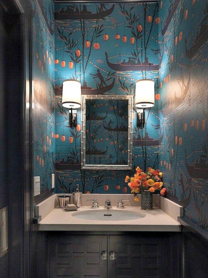 Ann Lowengart Interiors Bathrooms Teal And Orange Wallpaper Chinoiserie Wallpaper Chinoiserie Powder Room Chinoiserie Powder Room Wal