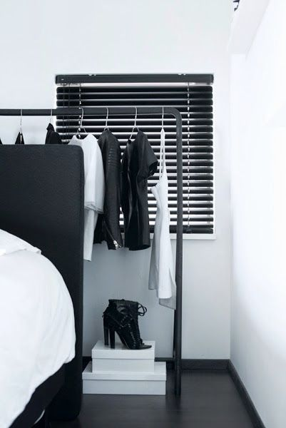 The home of a fashion blogger   A bedroom in concrete & black