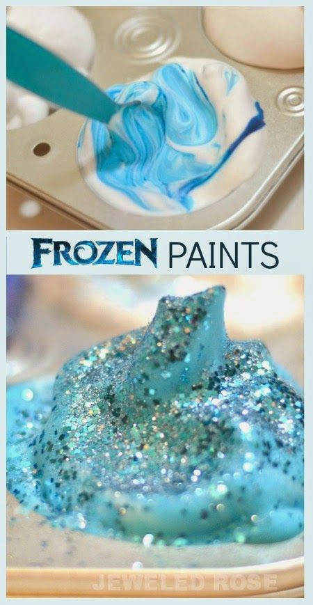 Frozen ice paints inspired by the movie.  These paints have the most glorious fluffy and icy texture and are great for painting on paper, using as a finger paint, and for bath time.  Fans of Disney's Frozen will love these easy to make paints.