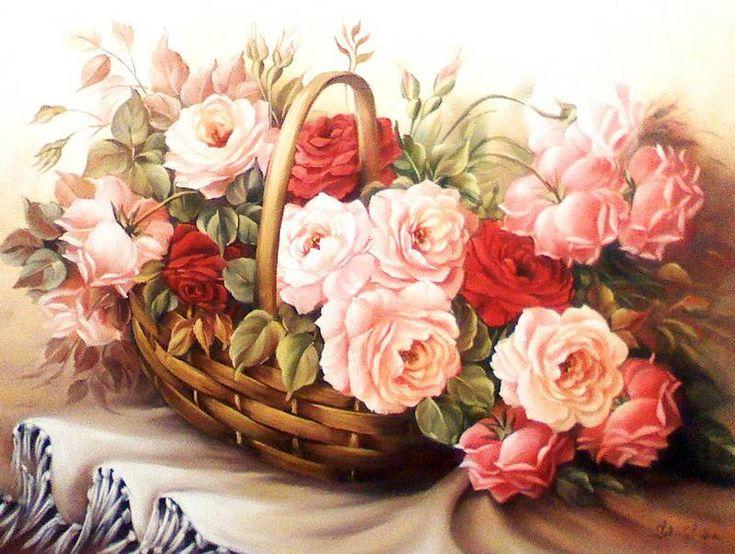 Розы в корзине картинки нарисованные, для подруги красивые