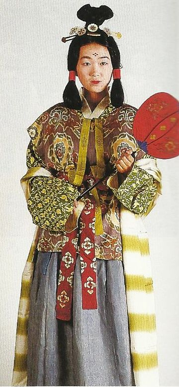 "Scan N1: Court lady of the Nara Period (710-784) , Japan. Textiles during this period of Japan were often brocade ones heavily influenced by China (and in some cases the cloth itself was directly imported from that country)  . Scan from book ""The History of Women's Costume in Japan.""  Scanned by Lumikettu of Flickr.  Japanese costume many centuries ago…recreation accomplished in Kyoto during the 1930's"
