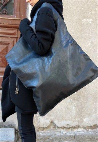 NEW GENUINE LEATHER BLACK BAG / HIGH QUALITY TOTE B14176