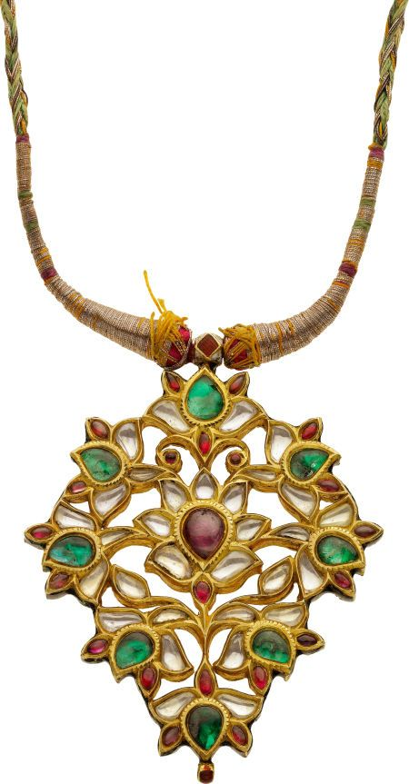 Antique Multi-Gemstone, Gold, Silk, Kundan Pendant-Necklace