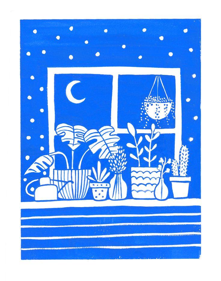 Cute scene with plants on a window sill.
