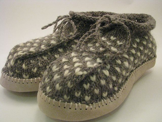 Ravelry: Project Gallery for Newfoundland Thrum Boot Slippers pattern by Wool Trends. (This one is upgraded by suede soles!)