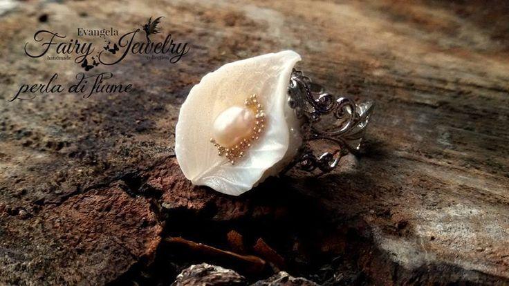 Anello foglia fimo pasta polimerica perla di fiume regolabile argento bianco, by Evangela Fairy Jewelry, 8,00 € su misshobby.com