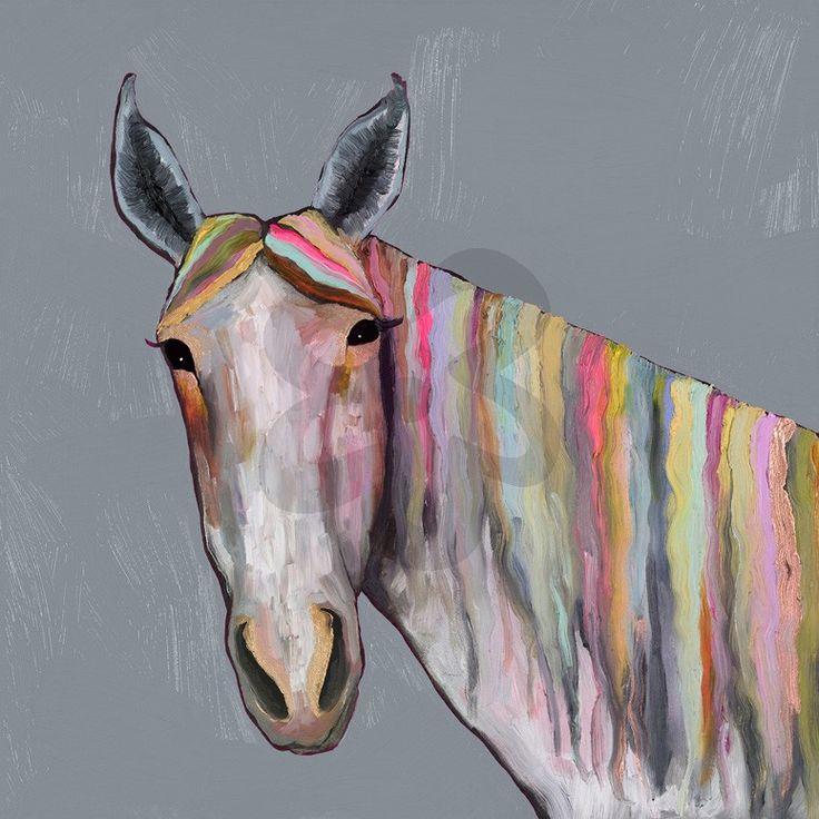 Horse On Gray, Animals Canvas Wall Art | GreenBox