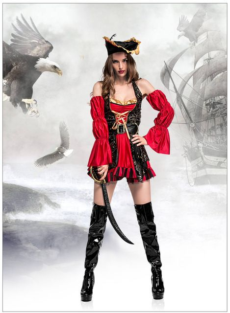 Costumes & Accessories Adult Womens Sexy Halloween Fancy Dress Clothing Female Cruel Seas Captain Buccaneer Pirate Cosplay Costume