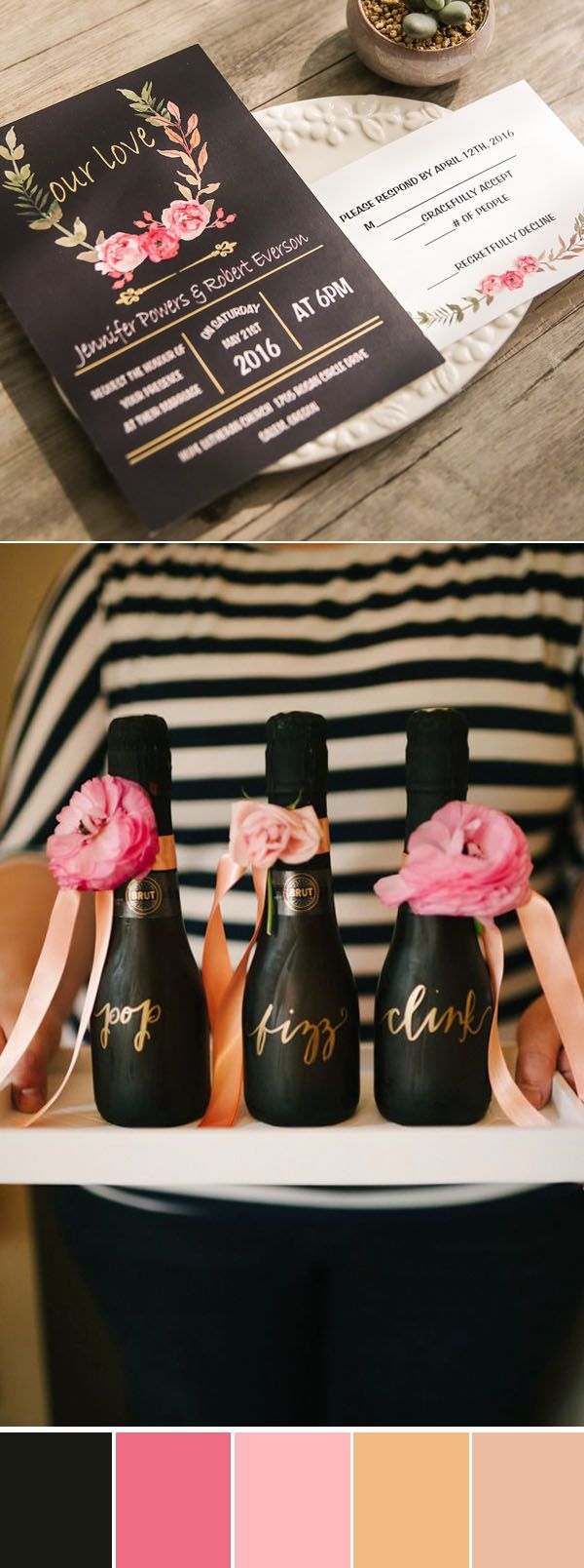 black and pink wedding colors with shade of glitter gold