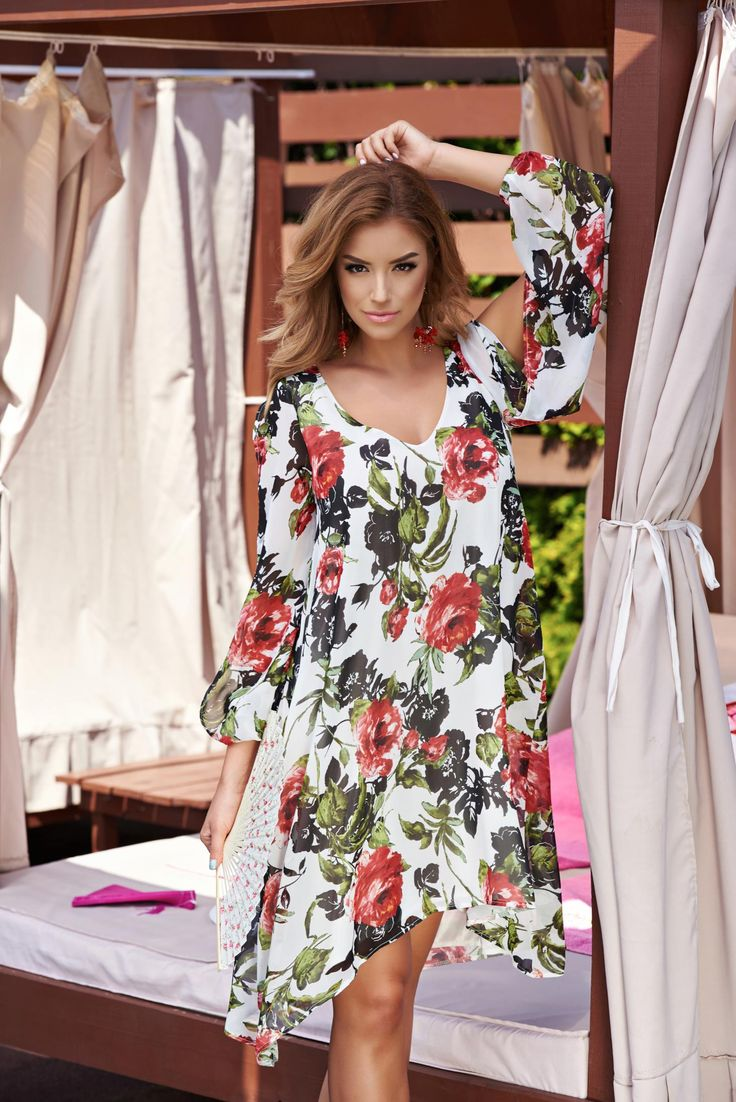 StarShinerS Day Dream White Dress, rounded cleavage, floral prints, cut out material