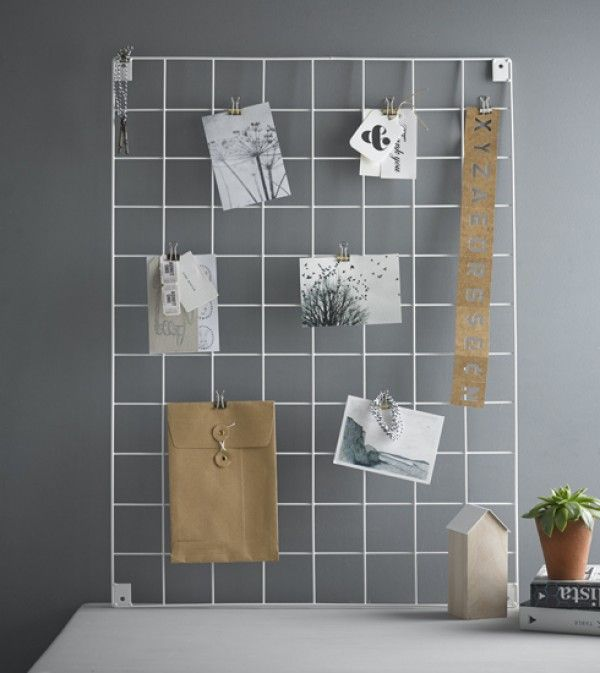 wire mesh memo mood board in white