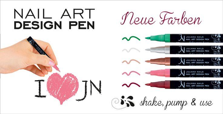 Nail Art Design Pens - 5 neue Farben - ab Donnerstag, den 2. Juni 2016 in allen Juliana Nails Stores erhältlich.