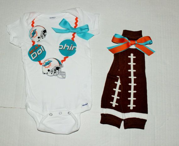 Miami Dolphins onesie NFL necklace onesie Dolphins by RYLOwear, $8.50