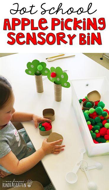 We LOVE this picking apples sensory bin. Great for tot school, preschool, or even kindergarten!