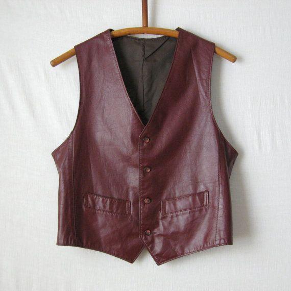$30 MED Leather Vest Mens Vest Vintage 70s Oxblood by ultravioletvintage