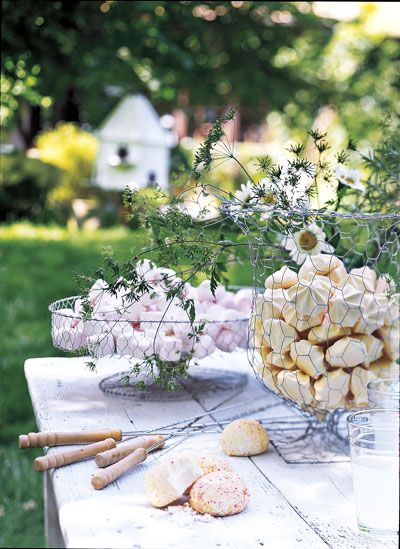 bowls made from chicken wire.  tabletop pastel marshmallow bowl and garden party deco.