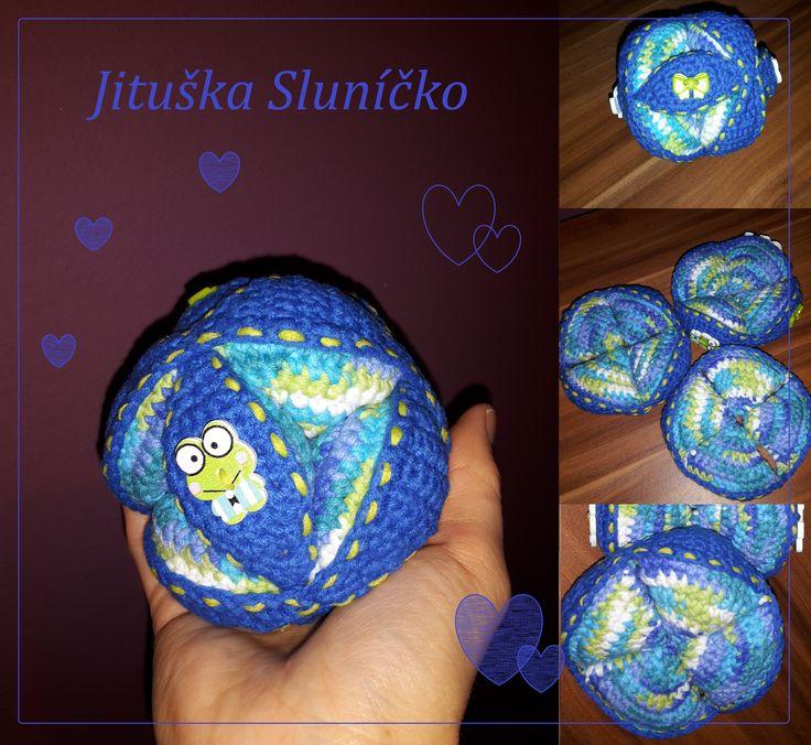 Puzzle Ball - příze Hawai multicolor, modrá Kateřina neon - háček 3,5 :-)