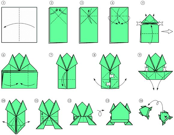 """Il schema origami """"la rana"""" origami istruzioni"""