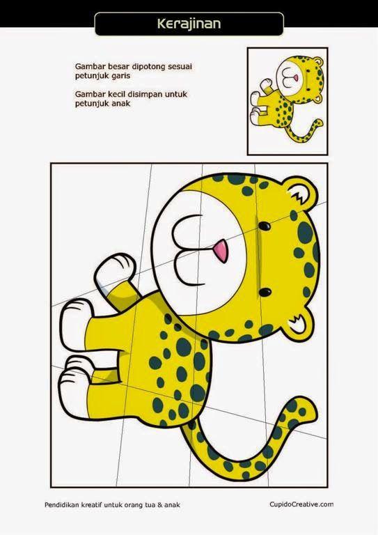 kerajinan gunting tempel PAUD (balita/TK) : buat sendiri puzzle cheetah