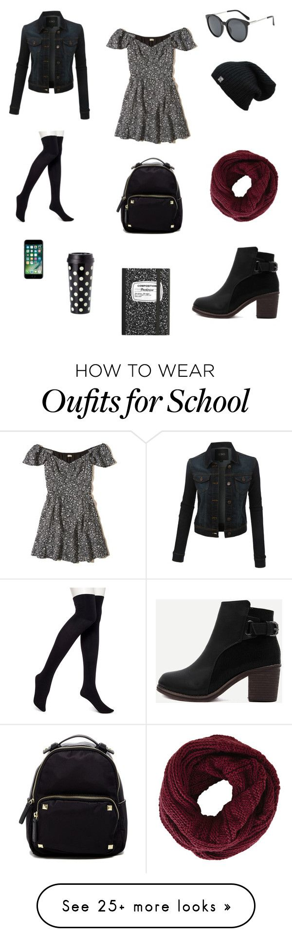 """Back To School"" by isabel-pasrod on Polyvore featuring Hollister Co., LE3NO, Hue, WithChic, Madden Girl, BCBGMAXAZRIA, Kate Spade, BackToSchool, outfit and dress"