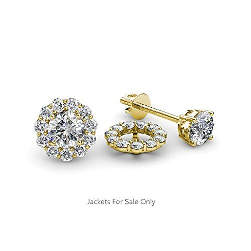 Angara Round Enhanced Blue Diamond Three Stone Hoop Earrings(4mm) Rose Gold gVomsocbJ3