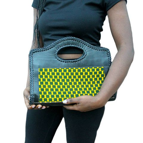 Clutch bag DR Congo - leather and african fabric