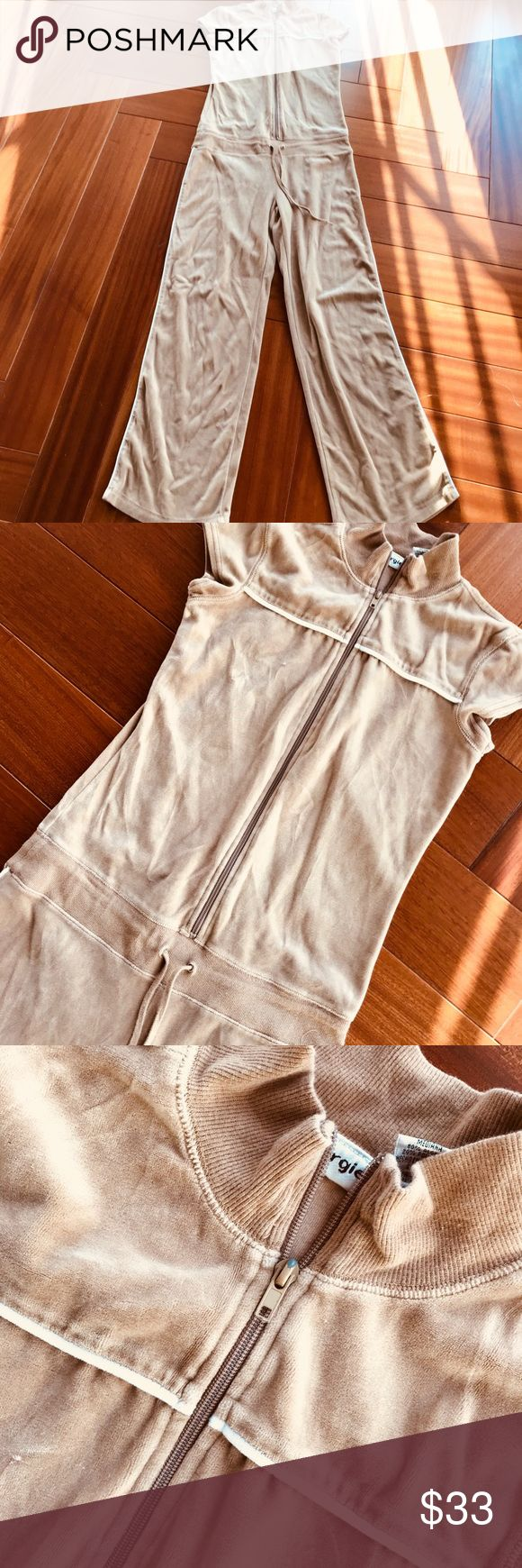 """Velour tracksuit/jumpsuit I love this so much, but it is just too long on me. You definitely need to be over 5'4"""" to pull this one off, unless you have them at the bottom. By """"energie"""" this is a medium, but fits small just fine also. Bust 36 inches, waist 32 inches or smaller using ties, length 61 inches, hips up to 40 inches. Energie Pants Jumpsuits & Rompers"""